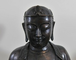 Antik, kínai, bronz buddhista szerzetes szobor, 18. század