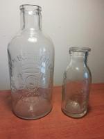 Régi tejes üvegek, palackok, 2db