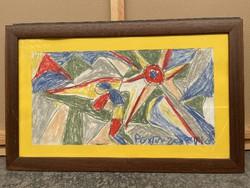 Németh Miklós eredeti absztrakt festmény 67x43 cm