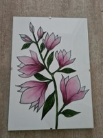 Unique magnolia lily tree glass painting glass picture