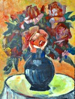 KORNAI József (1889-1929) festmény, olaj fa, kerettel 60 x 50 cm, jjl. Kornai J.