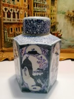 Painted oriental porcelain teapot with lid