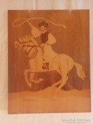 Horseman with hoops, marquetry image