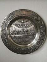 Marked tin wall plate (zinn becker stuttgart)