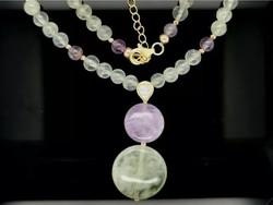 Wonderful prehnite, amethyst, hematite gemstone necklace, 925, new