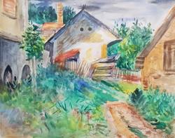 Zoltán Klie - village yard 38 x 47 cm watercolor, paper, framed
