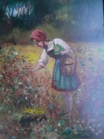 Girl picking flowers, marked with old oil-wood fibers