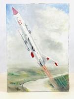 """Szocreál """"karakter""""1966-os űrhajós olajfestmény"""