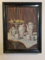 Porcelain painted on antique painting, tea set in salon
