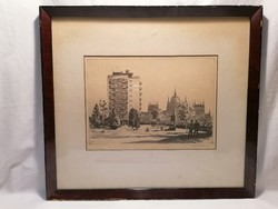 Old, interesting marked etching with country house