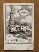 Antik Budapest - Bécsikapu - téri evangélikus templom és iskola képeslap - 1928