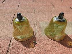 Mustard glass bell pair - butter holder, etc ....