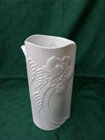 A.K. Kaiser Exclusiv, hófehér, dombormintás, virágos, porcelán váza. OLCSÓBB!