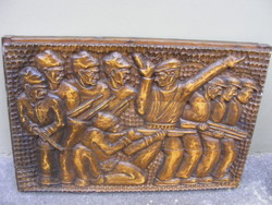 Papp Z 1975 Rohamra (munkásőr?) relikvia szocreál) fafaragás- panno