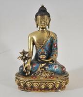 Meditáló Buddha, aranyozott bronz szobor