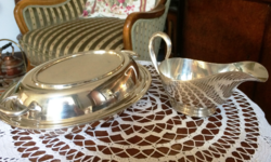 Antique, lavish, silver-plated serving set with double-sided lid plate, sauce pourer, shiny surface