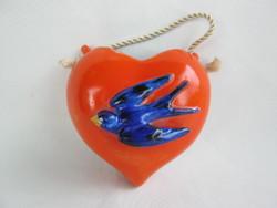 Heart shaped porcelain swallow bird wall vase