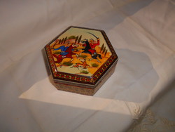 Box hand painted with miniature decoration on top