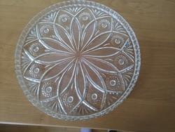 Nagyméretű ólomkristály  tálca,  asztalközép, süteményes tál, 29,5 cm