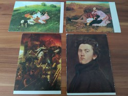 4 picturesque postcards in one, the colors are Perse Merse, Bertalan Szekler,
