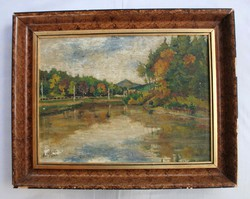 Impressionist painting depicting a lakeside landscape