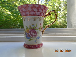 Imperial japan design label with special curved pink rim, flower and gold patterned teacup