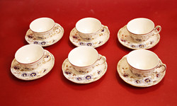 Zsolnay cornflower pattern coffee / mocha cups with saucer