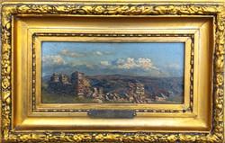Jenő Kárpáthy (1870 - 1950): castle ruins in a cloudy landscape