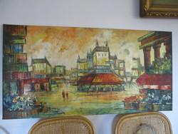 Csodálatos nagyméretű /120x60/ impresszionista olaj vászon festmény fantasztikus szinekkel