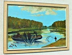 Albert Gábri, (1935-2004) 70x100 oil on wood