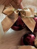 Gyönyörű 3 bordó masnis üveg karácsonyfadísz szett