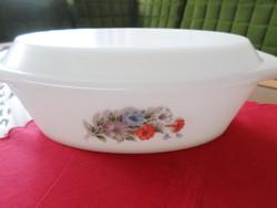 Little used oval shaped opal, milk glass, Jena bowl / lid. Marked! Arcopal france