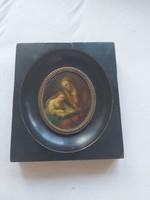 Antik fémlemezre festett miniatür. 1800 as évek.