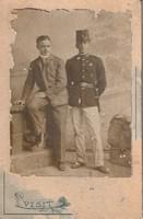 Antik fotó, fivéreket ábrázoló vizitkártya