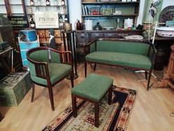 Art Deco ülőgarnitúra, kanapé, fotel, lábtartó