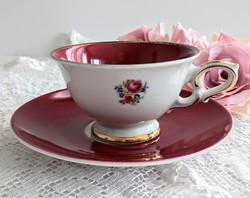 Wunsiedel bavaria burgundy floral coffee cup