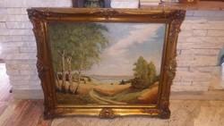 Marked oil on canvas landscape in blondel frame 70x82 cm