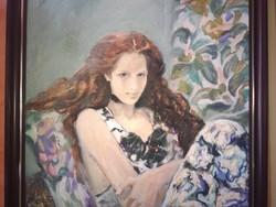 Klára Véghseő painter red-haired girl c. His oil painting