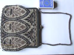 Régi, antik századfordulós, szecessziós mintázatú női gyöngy báli táska, retikül