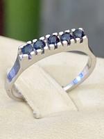 Antik, kecses ezüst gyűrű, valódi, természetes Zafír kövekkel