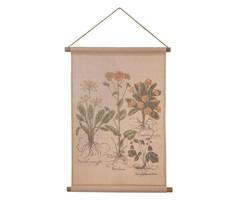 New! Herbarium plants / herbal canvas / textile wall decoration 75x55 cm