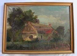 Larger painting depicting a press house in Somló