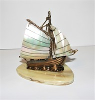 Sailboat - copper hull pearl sail with marble base