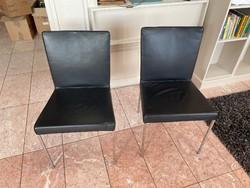 2 Italian top design chair, leather, chrome