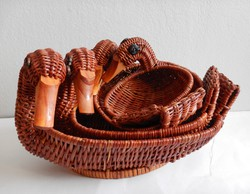 Duck-shaped cane baskets