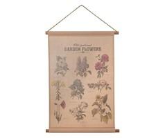 New! Garden flowers / garden plants canvas / textile wall decoration 75x55 cm