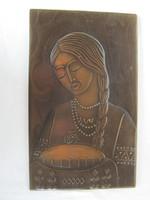 Retro ... Russian copper wall image with girl bread