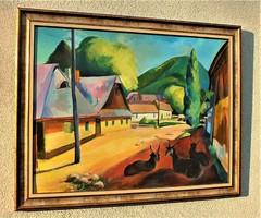 P. Abrudán B.M. 937 aláírással. Felsőbányai utca részlet.  57x75-s olajvászon