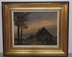 Twilight - a marked, darker-toned classic painting, in a classic design, from a Flemish workshop