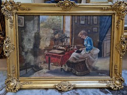 Noble woman in the room - in a gilded frame